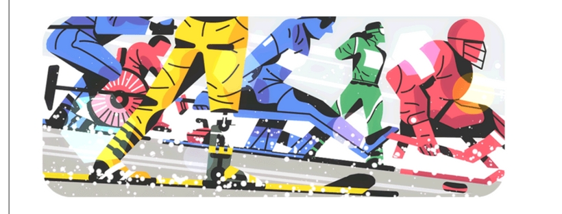Google Doodle represents athletes racing together to capture a spot on the podium